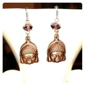 Handmade Buddha Head Earrings